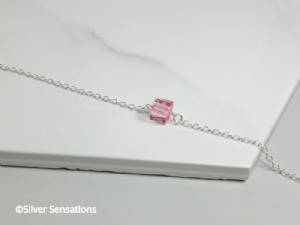 Sterling Silver Chain Bracelet With Pink Swarovski Crystal Faceted Cube